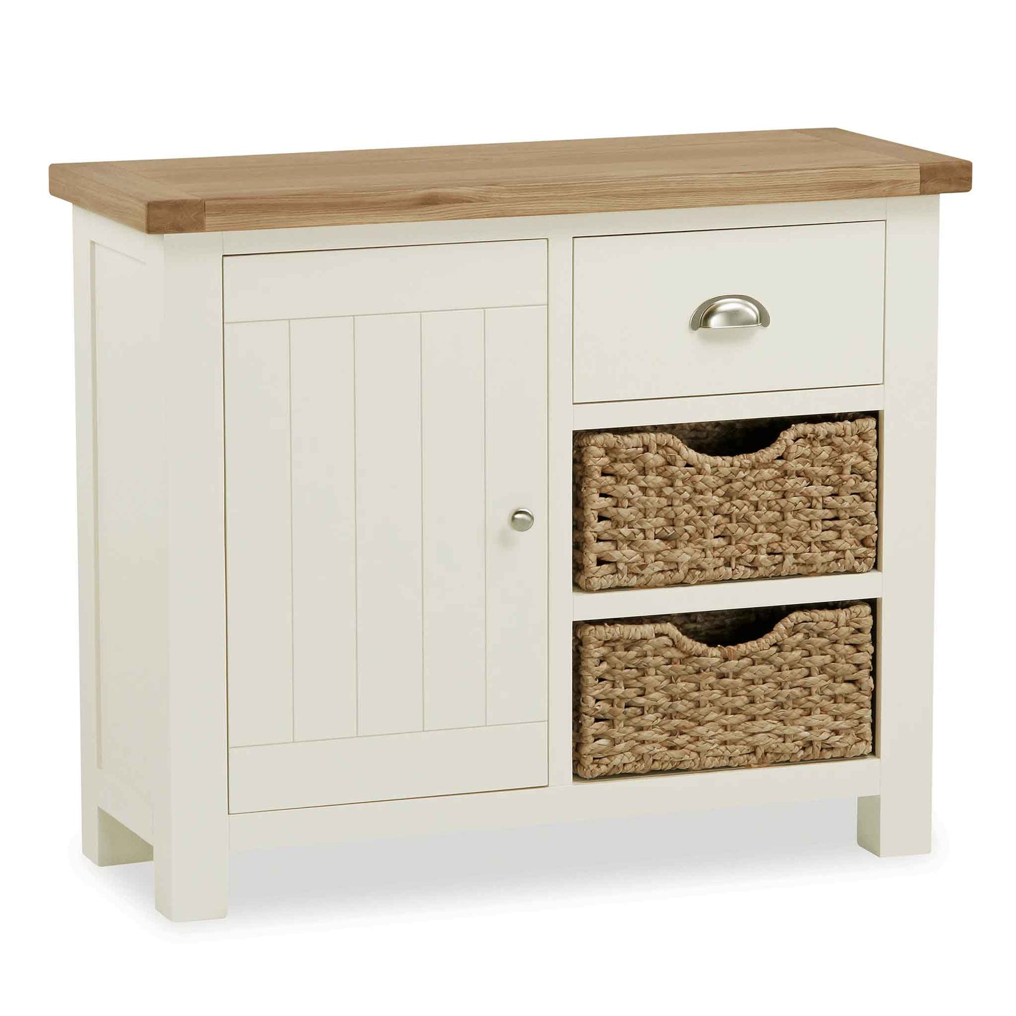 The Daymer Cream Painted Small Oak Sideboard Cabinet with Baskets from Roseland Furniture