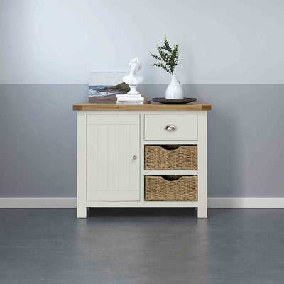 Decorative image of The Daymer Cream Painted Small Oak Sideboard Cabinet