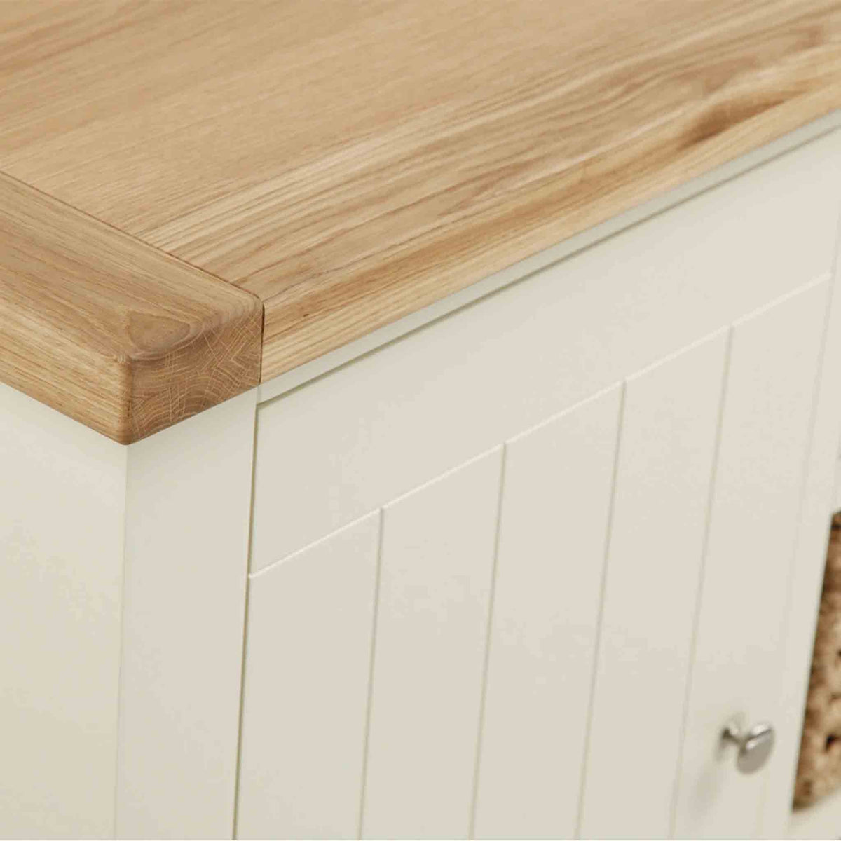Close up of tabletop surface of The Daymer Cream Painted Small Oak Sideboard Cabinet