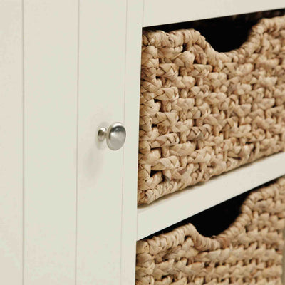 Close up of baskets and cupboard handle on The Daymer Cream Painted Small Oak Sideboard Cabinet