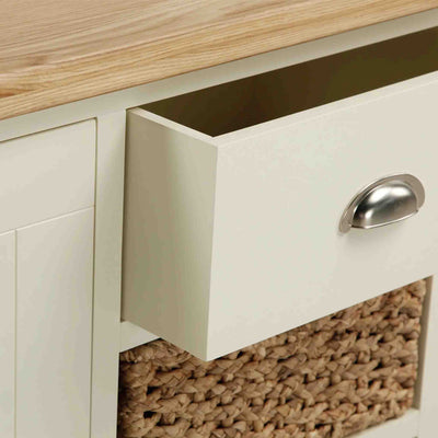 Open drawer view of The Daymer Cream Painted Small Oak Sideboard Cabinet