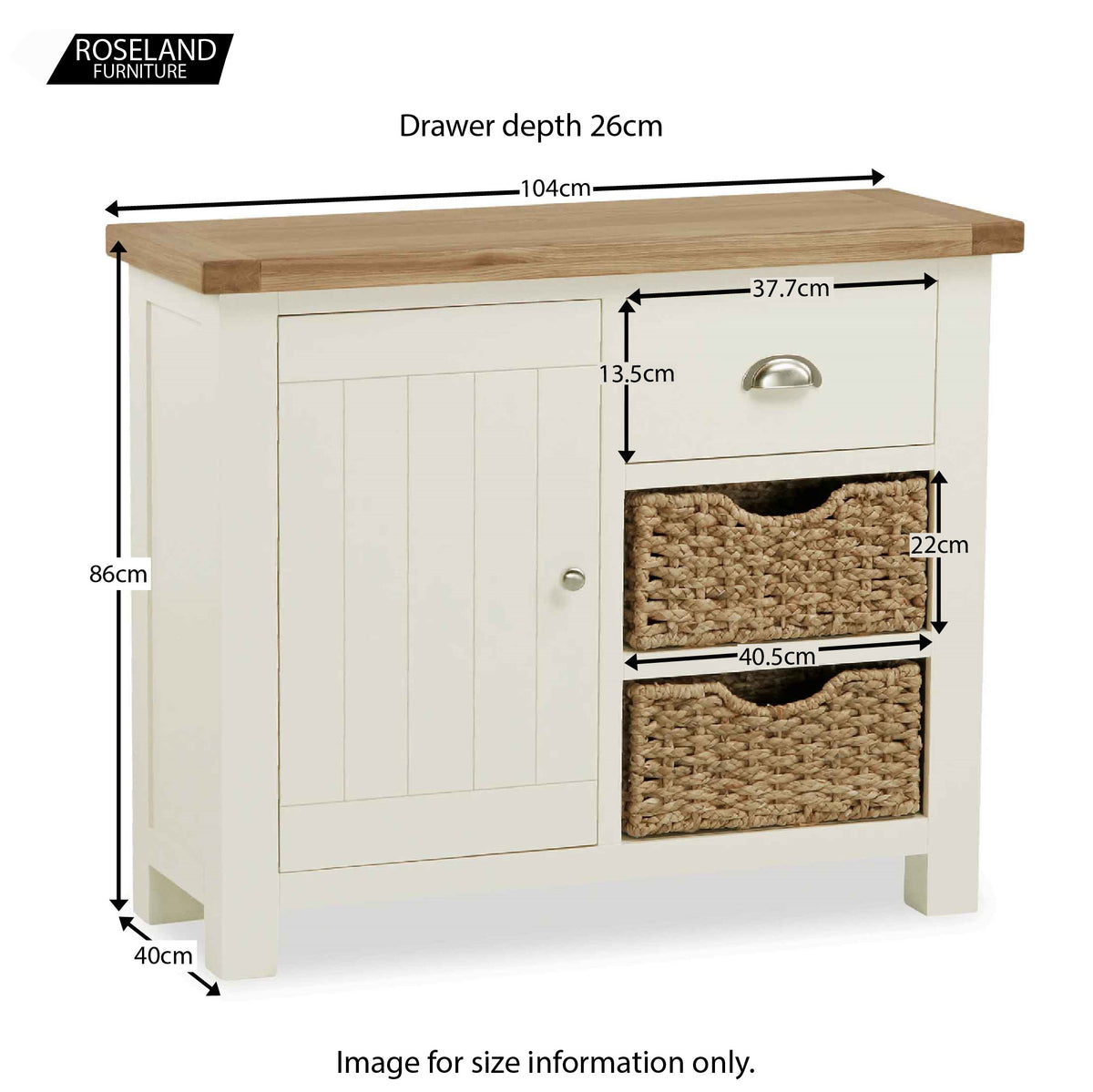 Daymer Cream Small  Sideboard Cabinet with Baskets - Size Guide