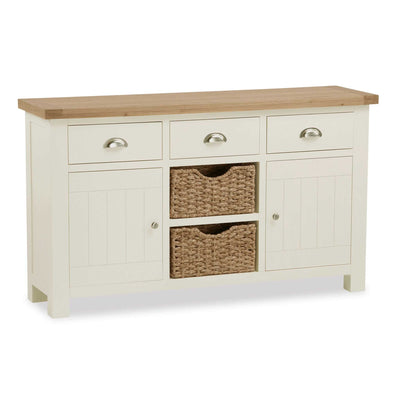 The Daymer Cream Large 2 Door Oak Sideboard Cabinet with Baskets from Roseland Furniture