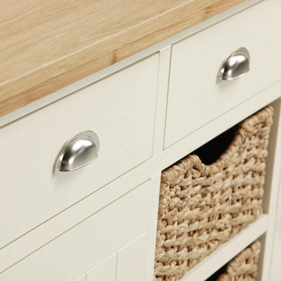 Close up of drawers on The Daymer Cream Large 2 Door Oak Sideboard Cabinet