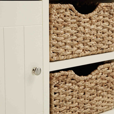 Close up of baskets and cupboard handle on The Daymer Cream Large 2 Door Oak Sideboard Cabinet