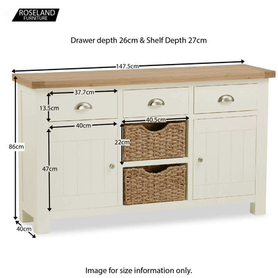 Daymer Cream Large Sideboard Cabinet with Baskets - Size Guide