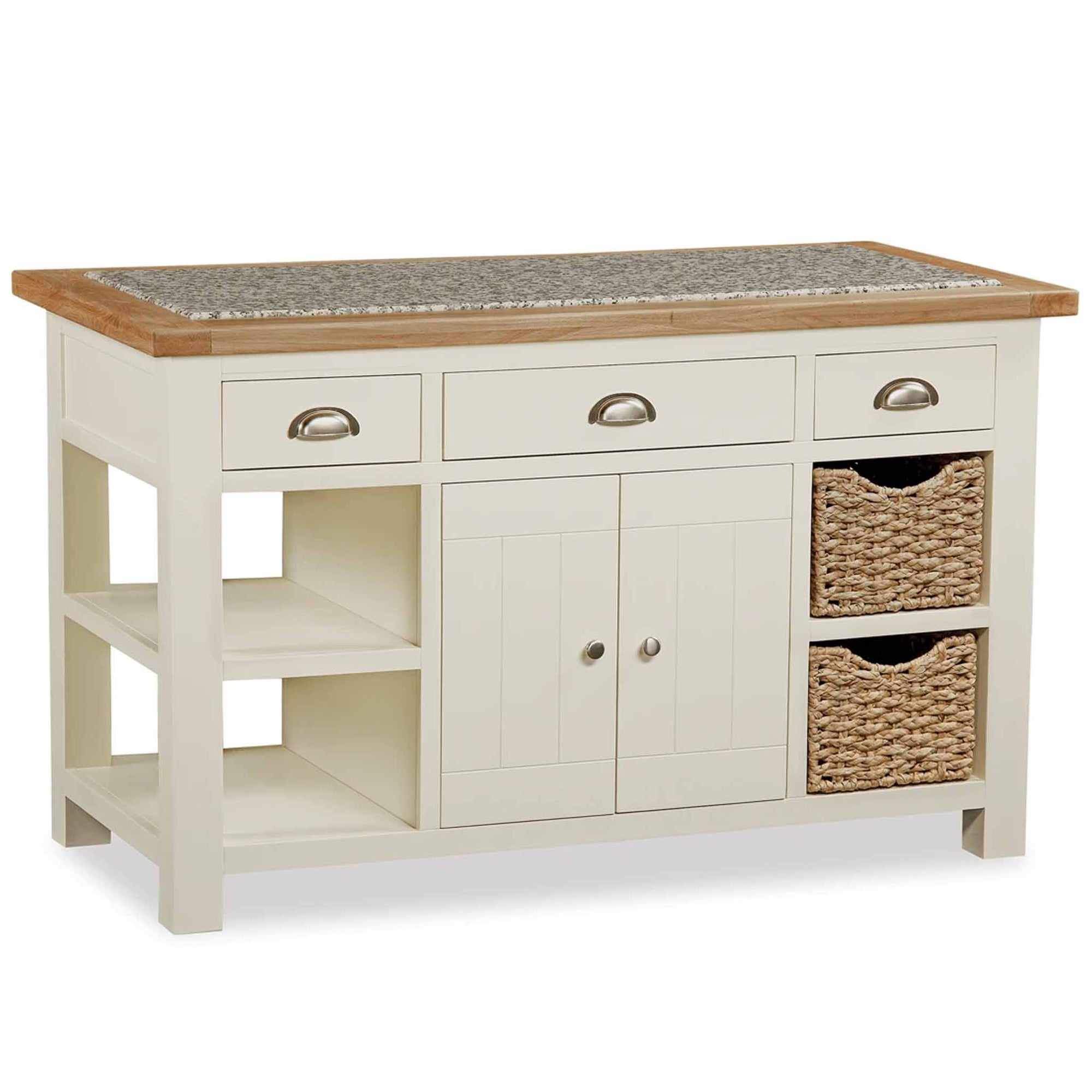 The Daymer Cream Oak Top Kitchen Island Breakfast Bar from Roseland Furniture