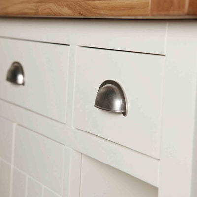 Close up of storage drawers on The Daymer Cream Oak Top Kitchen Island Breakfast Bar