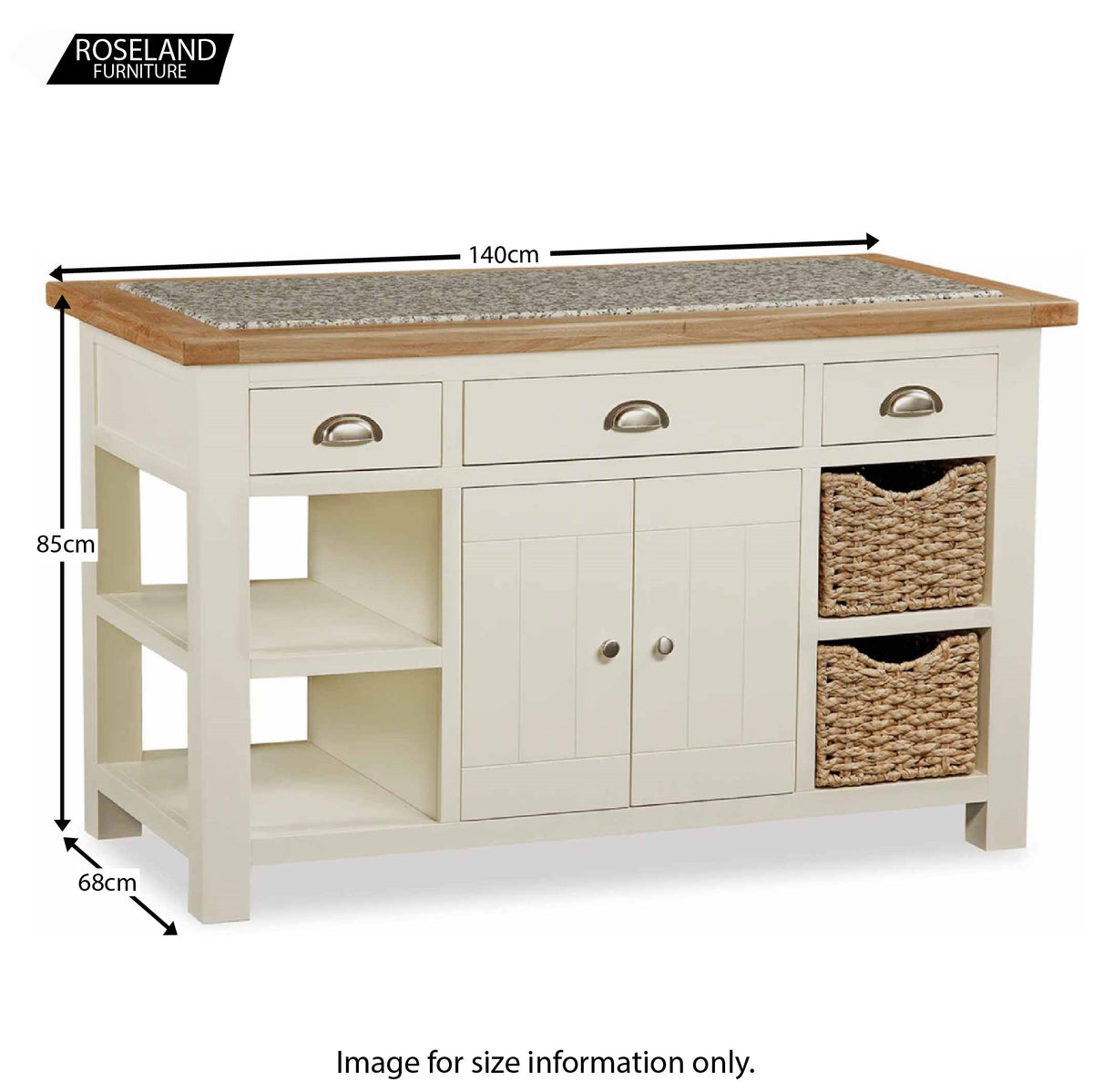 Daymer Cream Oak & Granite Topped Kitchen Island - Size Guide