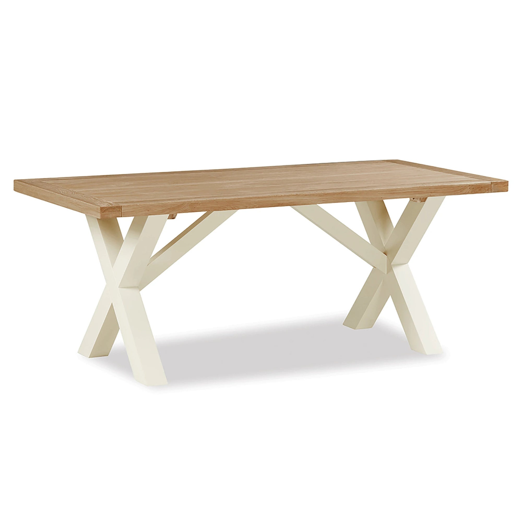 The Daymer Cream Oak Kitchen Cross Dining Table from Roseland Furniture