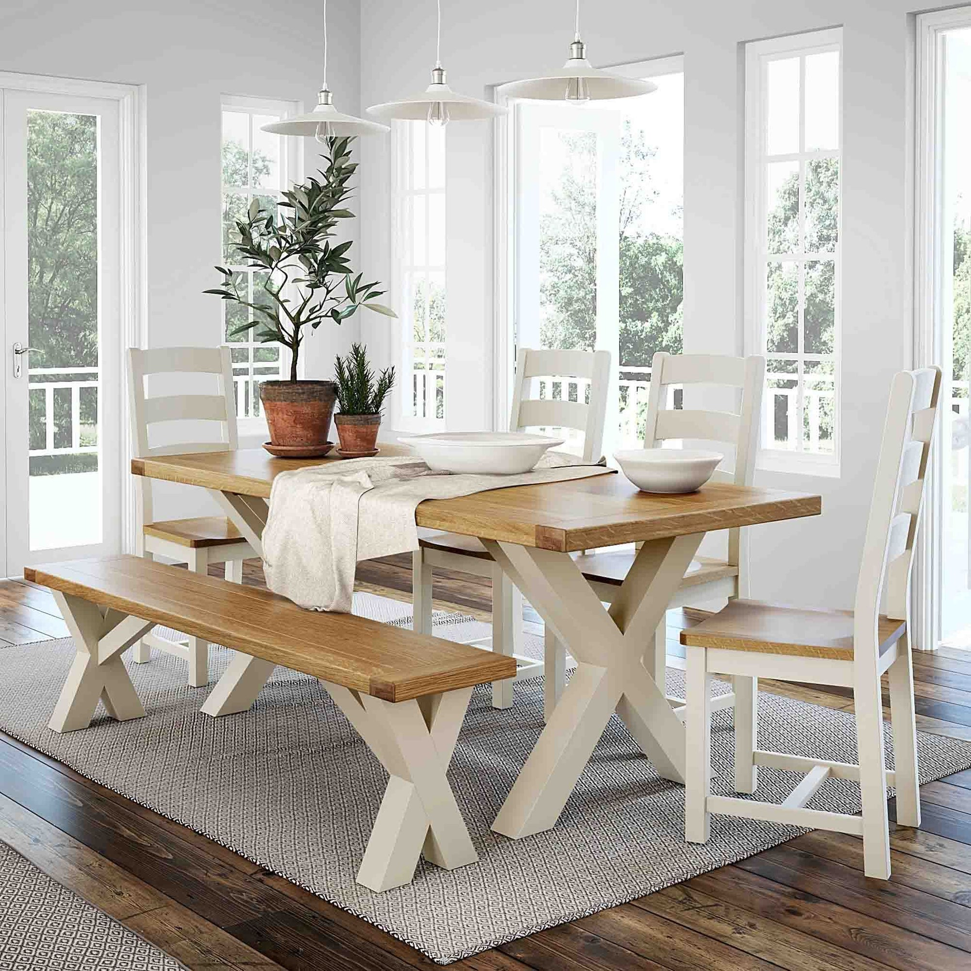 Daymer Cream Painted Cross Leg Dining Table With Oak Top Roseland Furniture