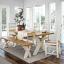 Decorative Kitchen Table Set image with The Daymer Cream Oak Cross Dining Table