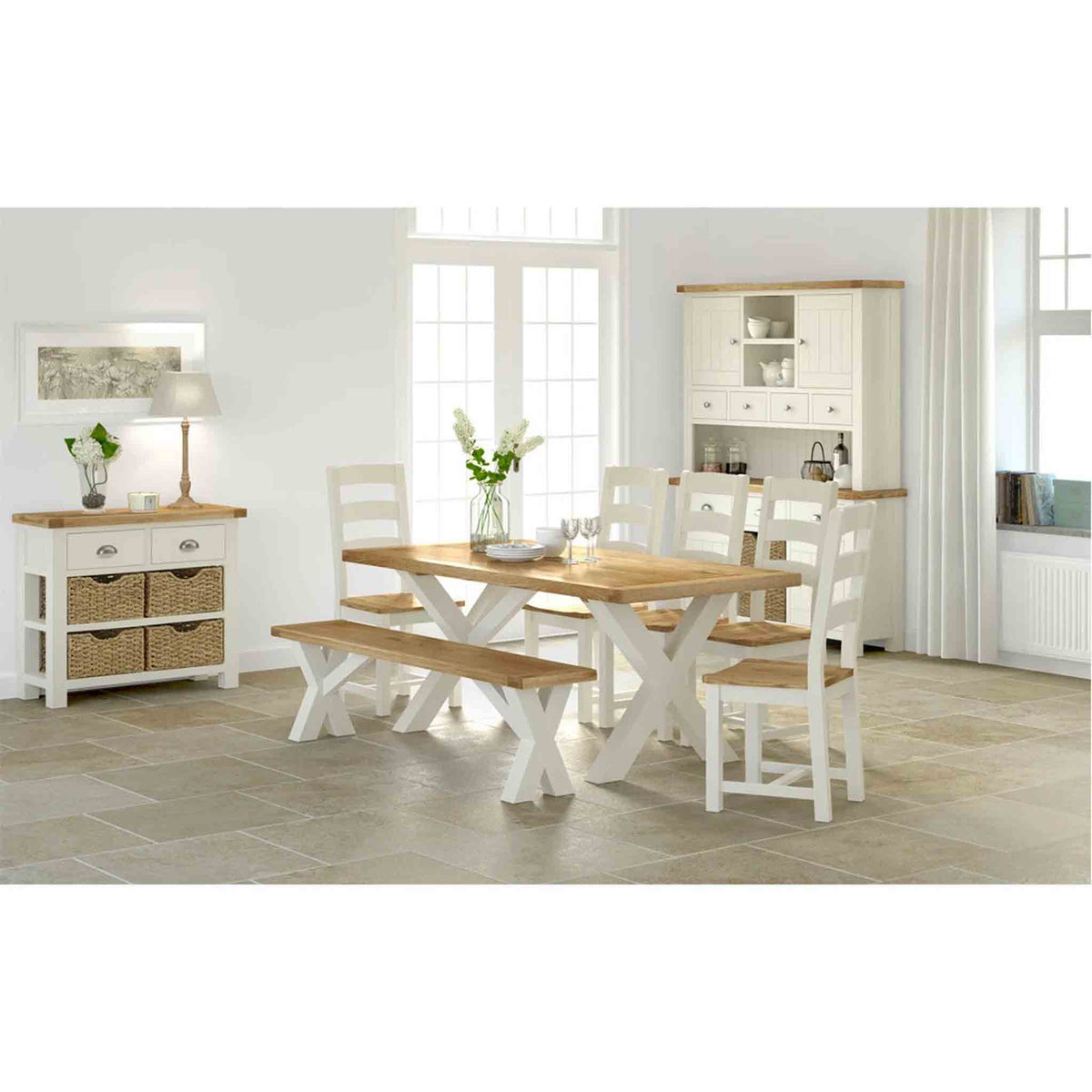 Decorative image with The Daymer Cream Slatted Oak Seat Dining Chair