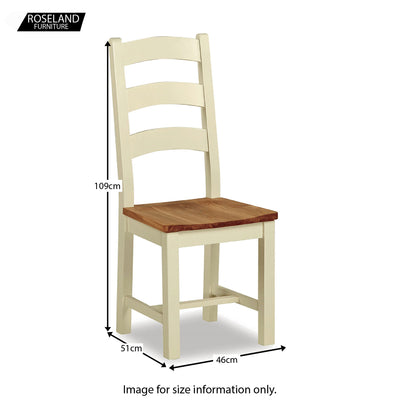 Daymer Cream Slatted Oak Seat Dining Chair - Size Guide