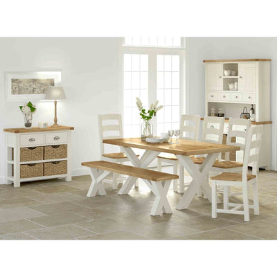 Decorative Kitchen image with The Daymer Cream Oak Cross Bench