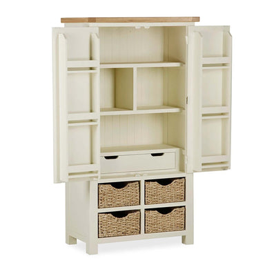The Daymer Cream Kitchen Larger Storage Cupboard from Roseland Furniutre