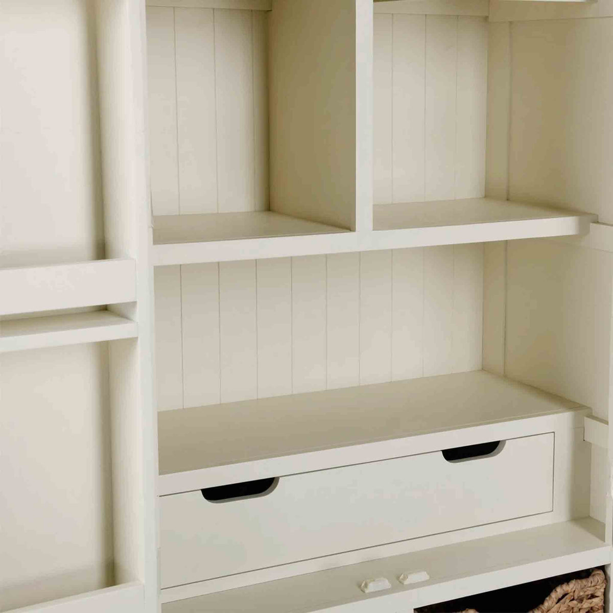 Close up of shelves on The Daymer Cream Kitchen Larger Storage Cupboard