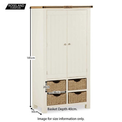 Daymer Cream Kitchen Larger Storage Cupboard - Closed Size Guide