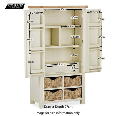 Daymer Cream Kitchen Larger Storage Cupboard - Open Size Guide