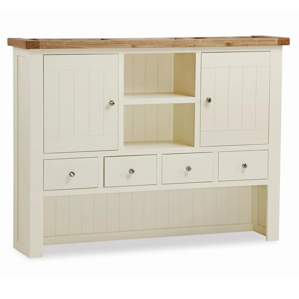 The Daymer Cream Large Wooden Kitchen Dresser Hutch from Roseland Furniture