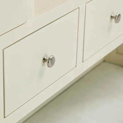 Close up of drawers on The Daymer Cream Large Wooden Kitchen Dresser Hutch