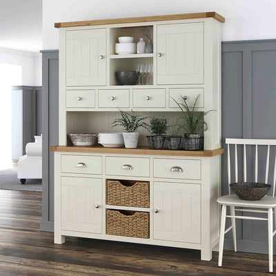 Decorative image of the The Daymer Cream Large Wooden Kitchen Dresser Hutch