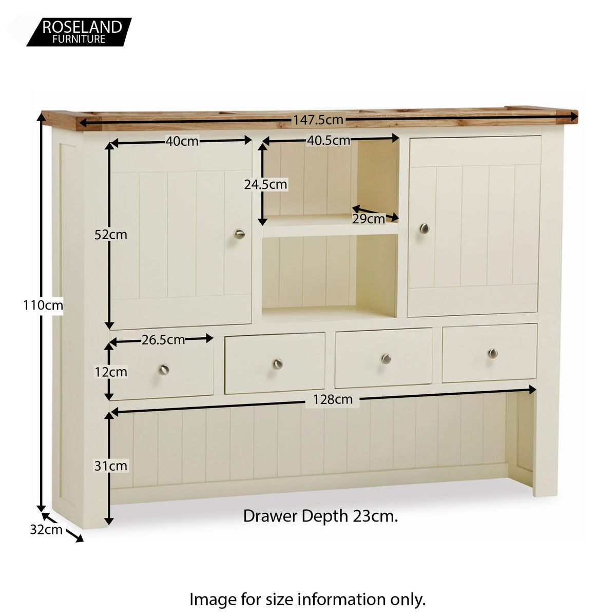 Daymer Cream Large Kitchen Dresser Hutch - Size Guide
