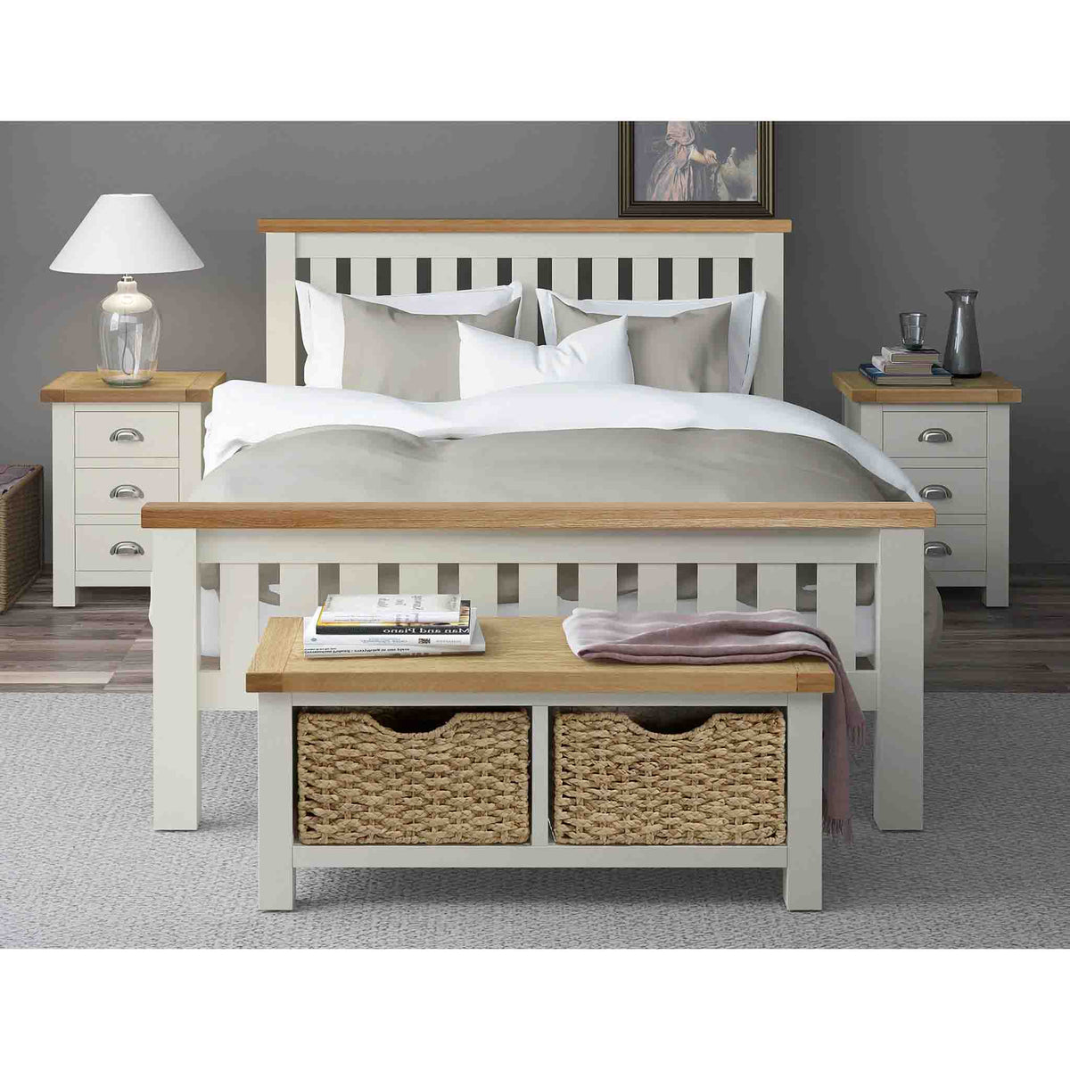 Decorative bedroom image of The Daymer Cream Wooden Double Bed Frame with Oak Tops
