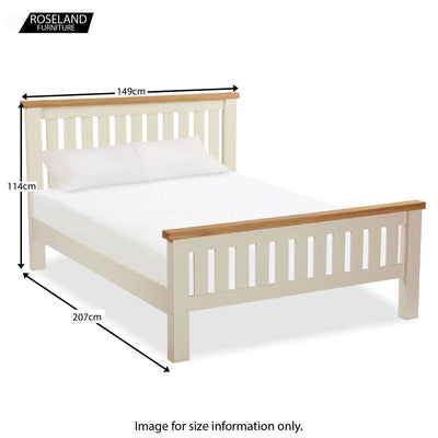 Daymer Cream Double Bed Frame - Size Guide