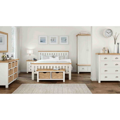 Decorative bedroom scene of The Daymer Cream 5' Wooden King Size Bed Frame with Oak Tops