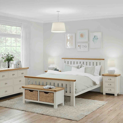 Decorative bedroom view with The Daymer Cream 6 ft Super King Size Wooden Bed Frame