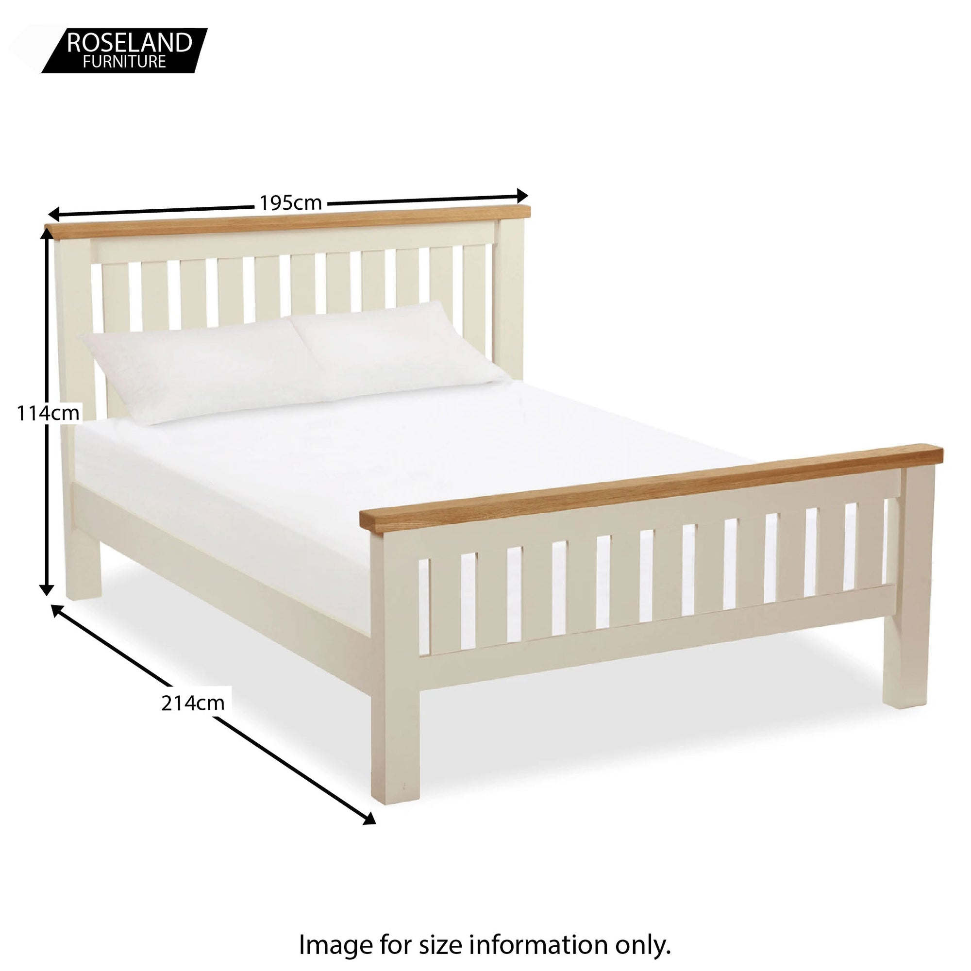 Daymer Cream Painted Oak 6 Ft Super King Bed Solid Wood Frame Roseland Furniture