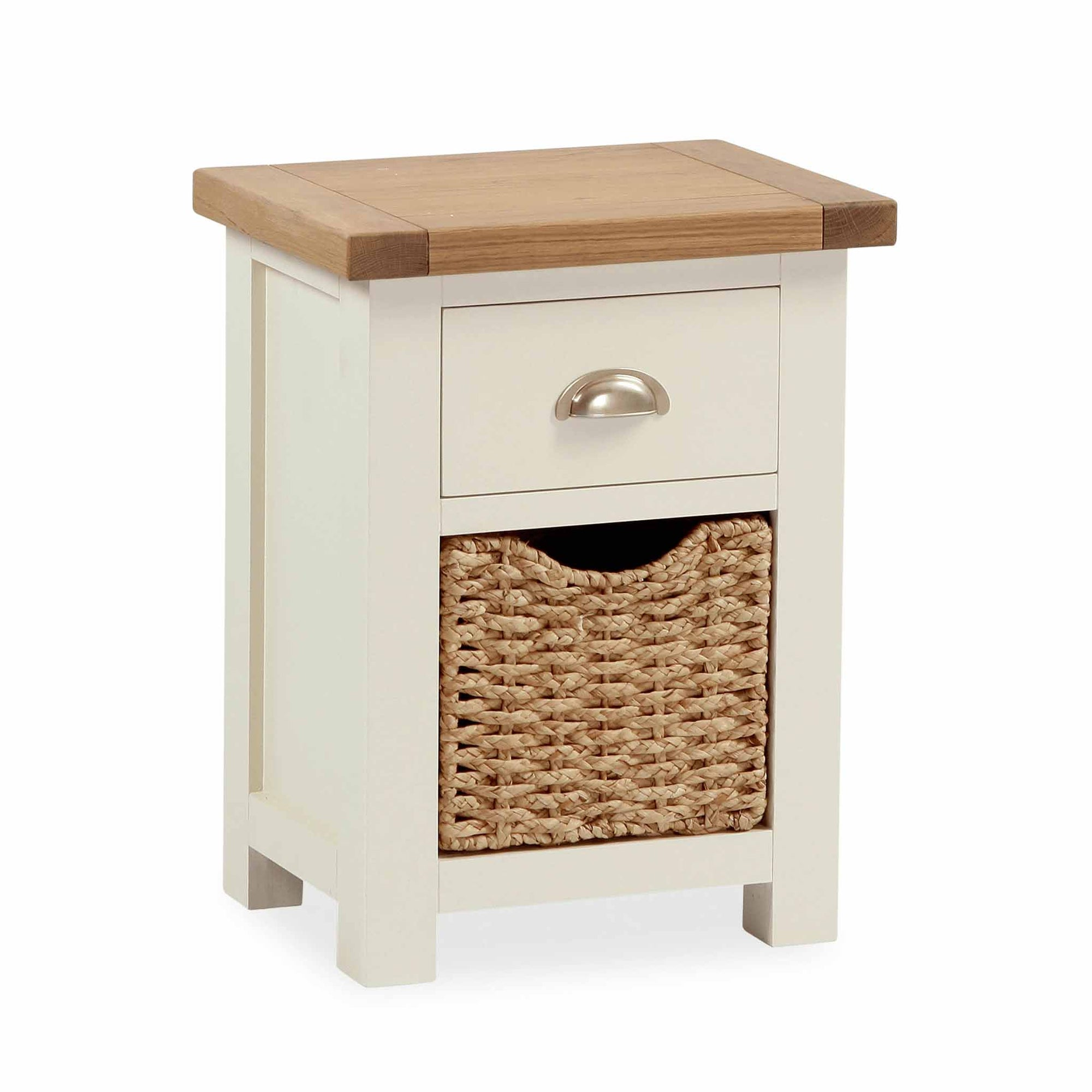 The Daymer Cream Painted Small Oak Top Bedside Table with Basket from Roseland Furniture