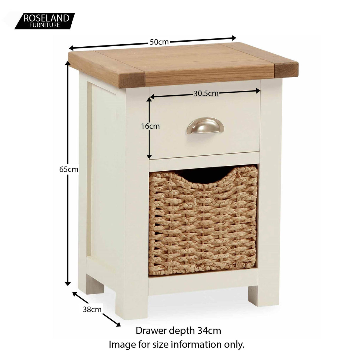 Daymer Cream  Bedside Table with Basket - Size Guide
