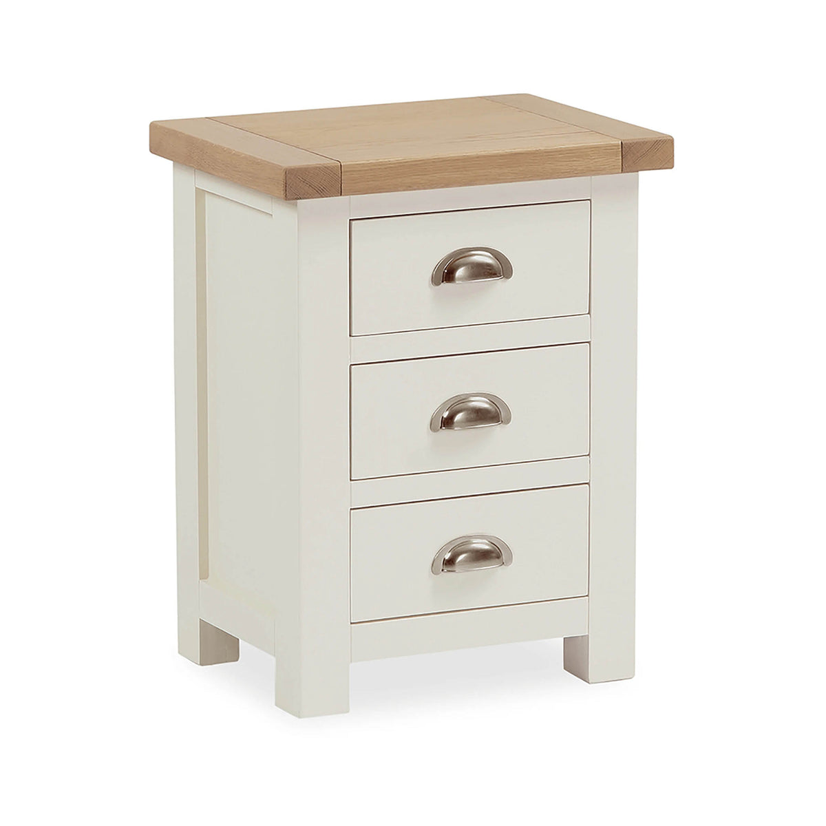 The Daymer Cream Painted 3 Drawer Oak Bedside Table from Roseland Furniture