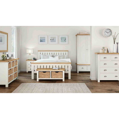 Decorative room image including The Daymer Cream Painted 3 Drawer Oak Bedside Table