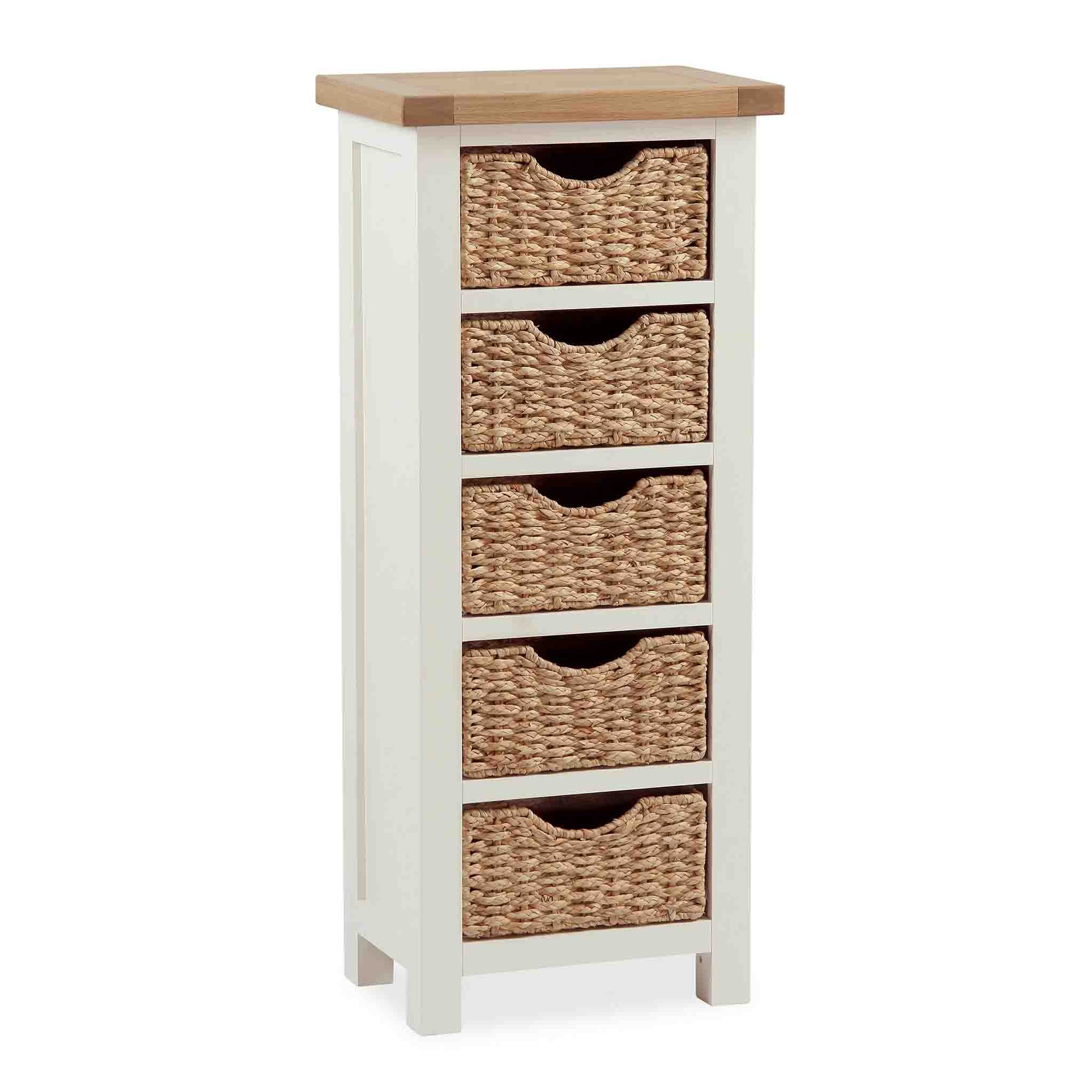 The Daymer Cream Tallboy Chest with Storage Baskets from Roseland Furniture