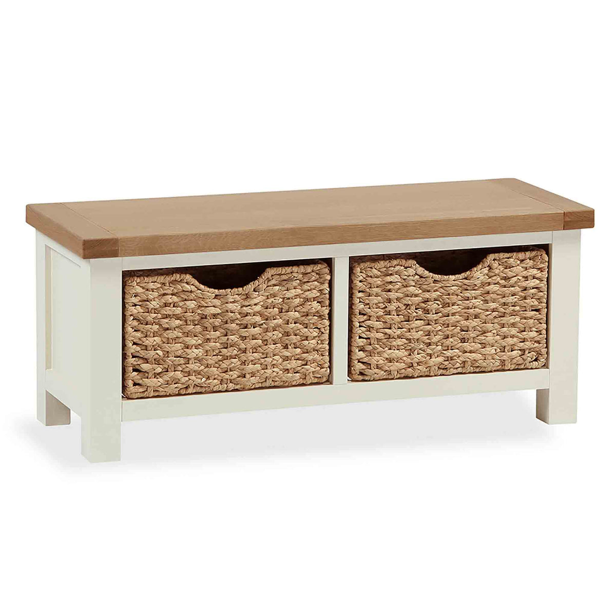 The Daymer Cream Small Oak Top Bench with Storage Baskets from Roseland Furniture