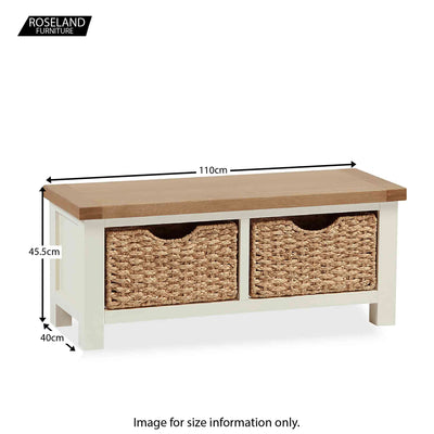 The Daymer Cream Small Oak Top Bench with Storage Baskets - Size Guide