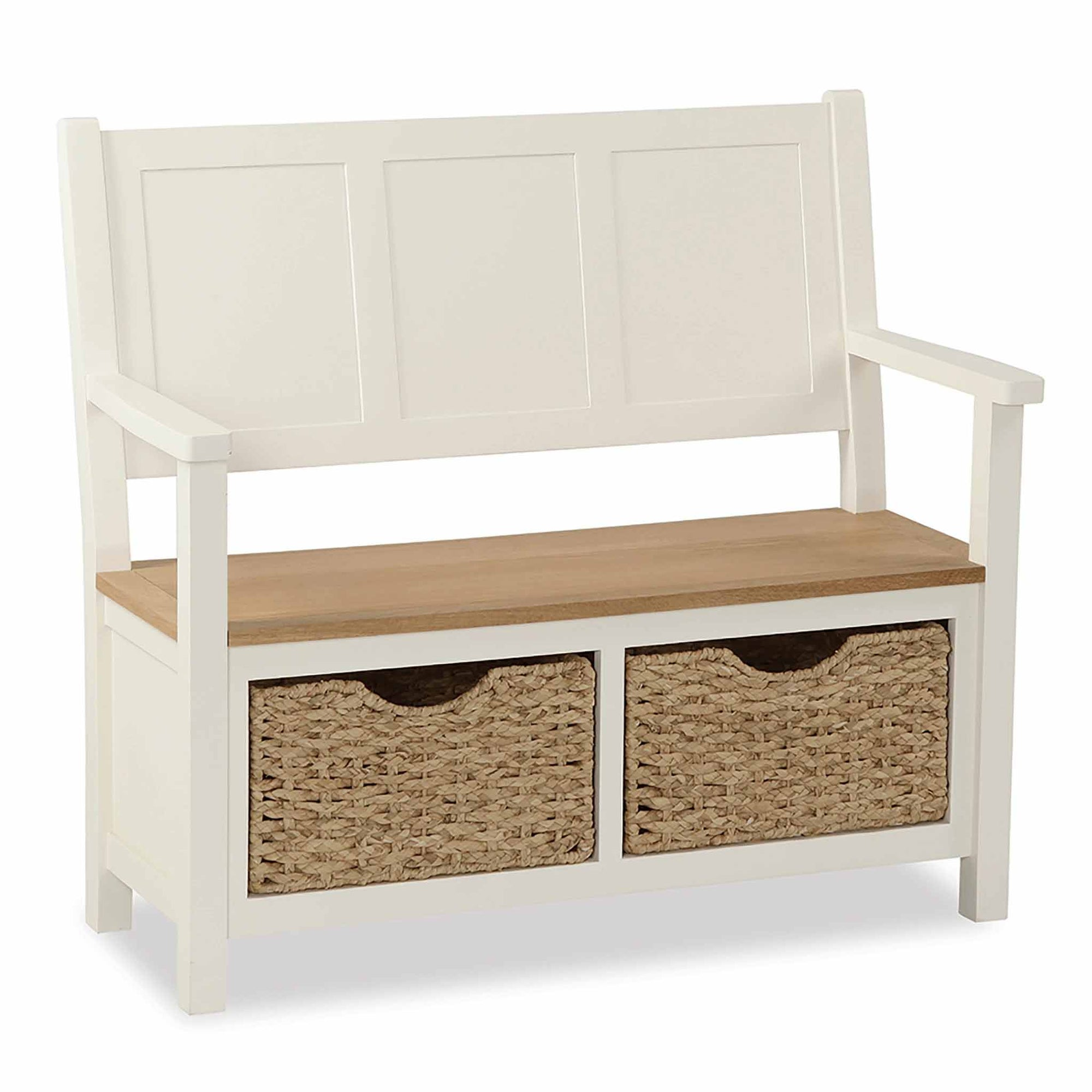 The Daymer Cream Wooden Hallway Storage Bench with Baskets from Roseland Furniture