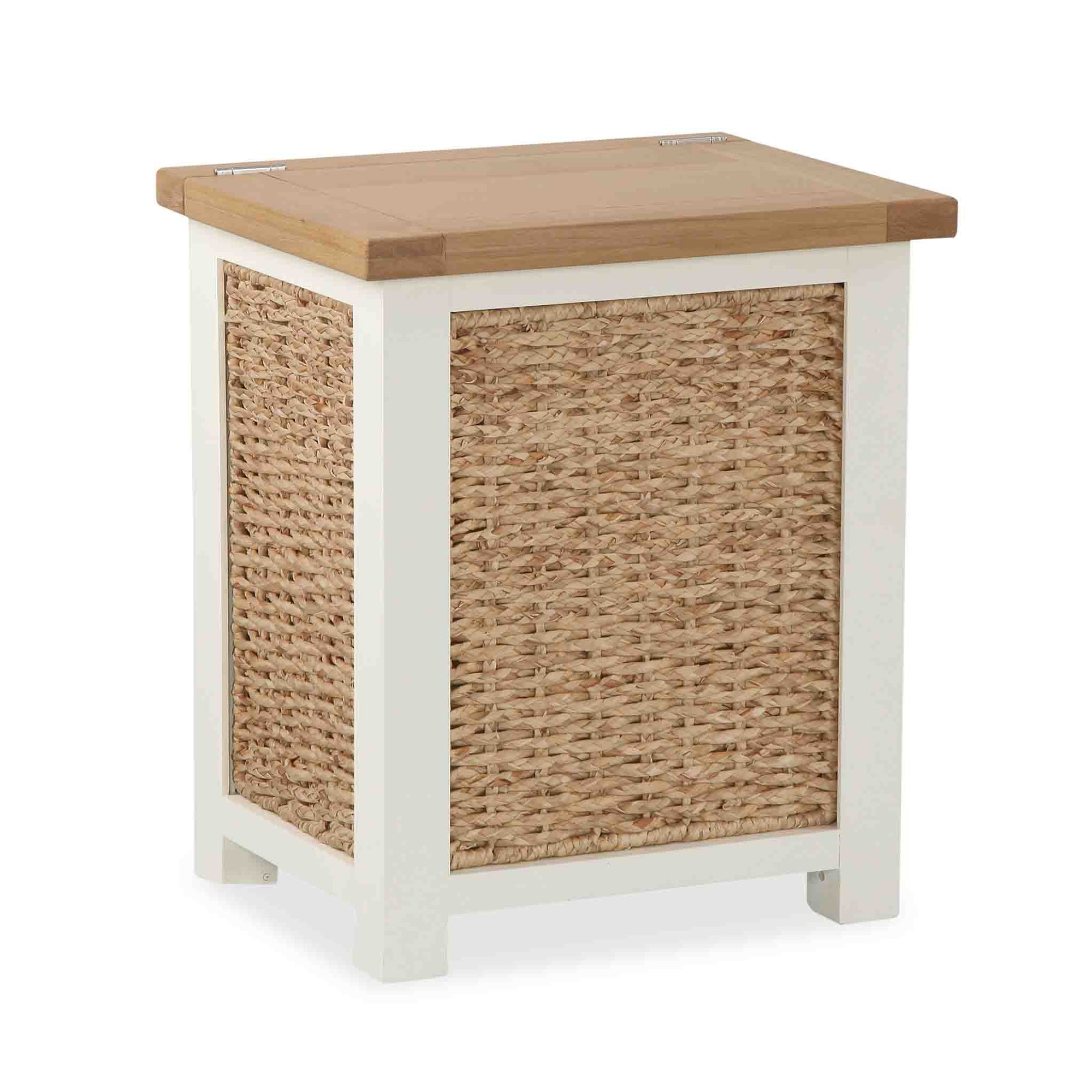 The Daymer Cream Wooden Laundry Basket with Lid from Roseland Furniture