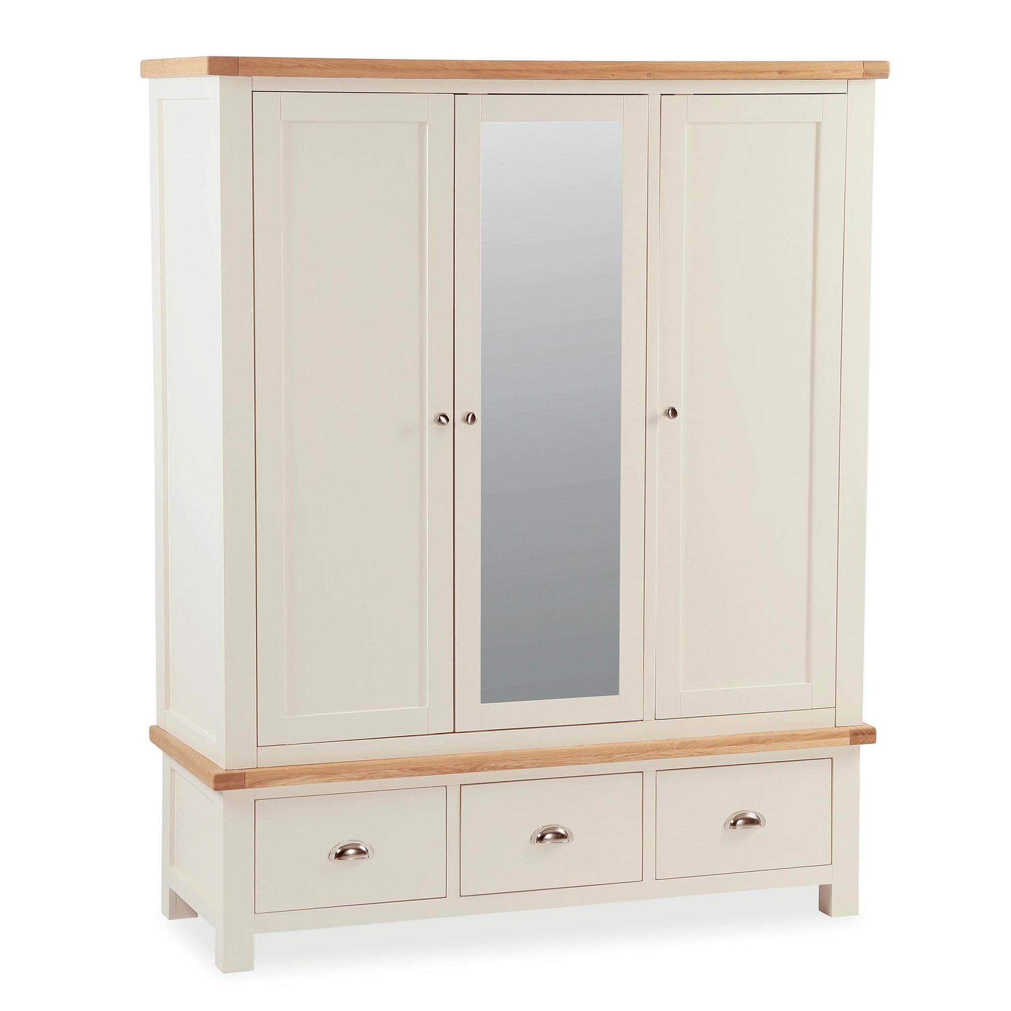 The Daymer Cream 3 Door Triple Wardrobe with Mirror and 3 Drawers from Roseland Furniture