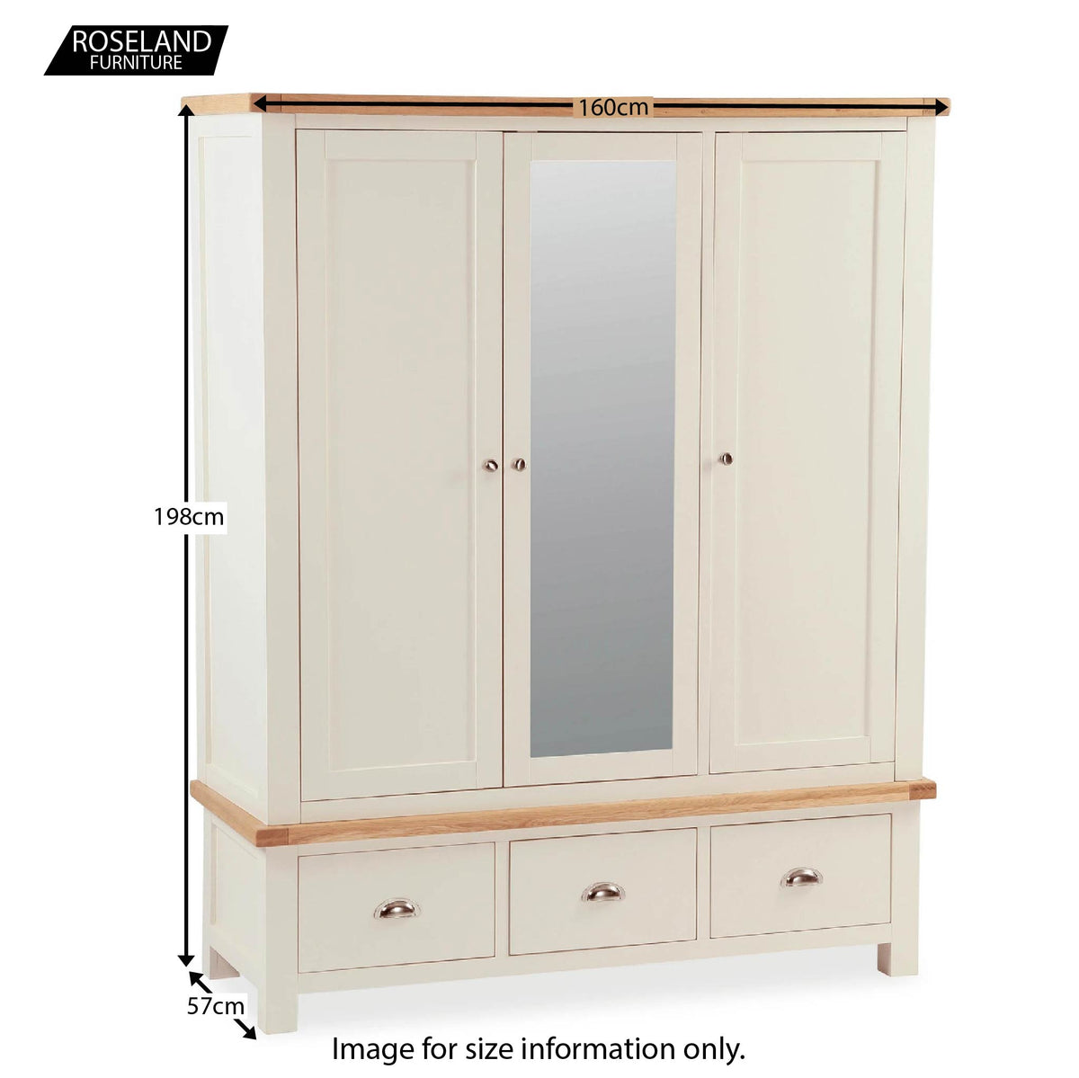 Daymer Cream Triple Wardrobe with Mirror and Drawers - Size Guide