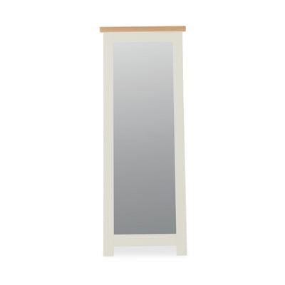 The Daymer Cream Tall Wooden French Style Cheval Bedroom Mirror with Oak Top