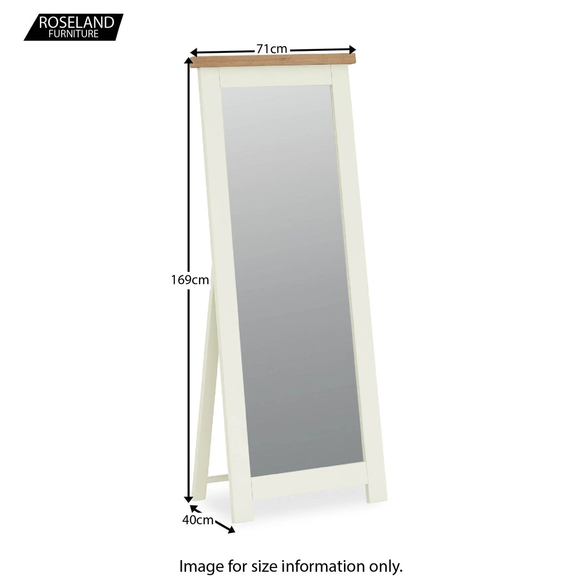 Daymer Cream Tall Bedroom Mirror - Size Guide