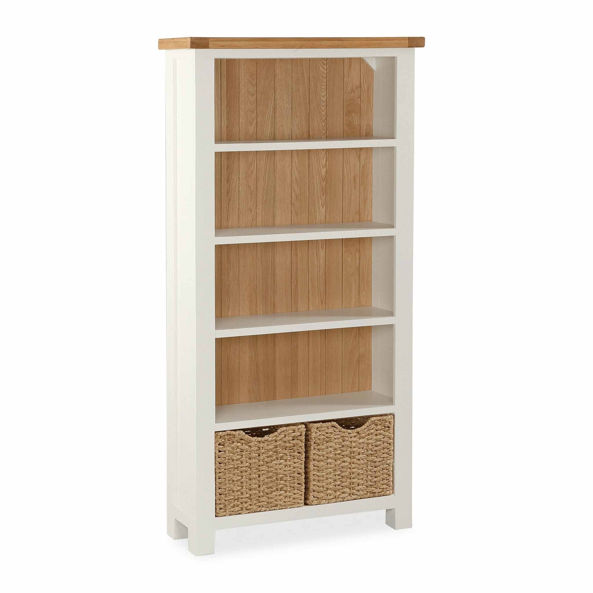 The Daymer Cream Large Oak Top Bookcase with Storage Baskets from Roseland Furniture