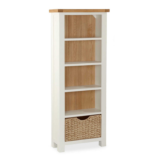 The Daymer Cream Painted Tall Narrow Oak Bookcase from Roseland Furniture