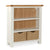 The Daymer Cream Painted Small Low Bookcase with Baskets from Roseland Furniture