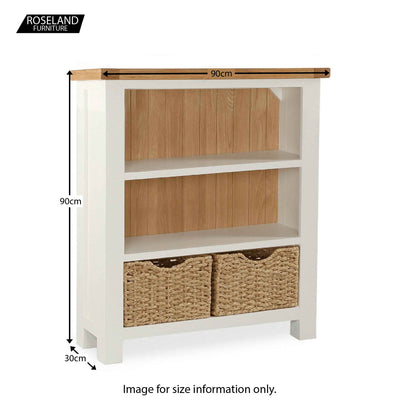 Daymer Cream Small Low Bookcase with Baskets - Size Guide