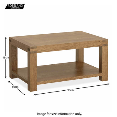 Abbey Grande Low Oak Coffee Table - Size guide